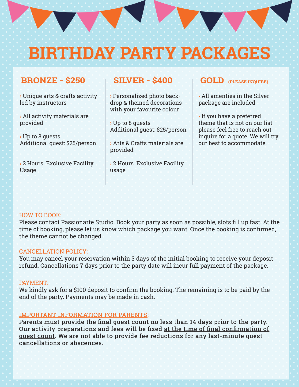 Birthday Packages 2020